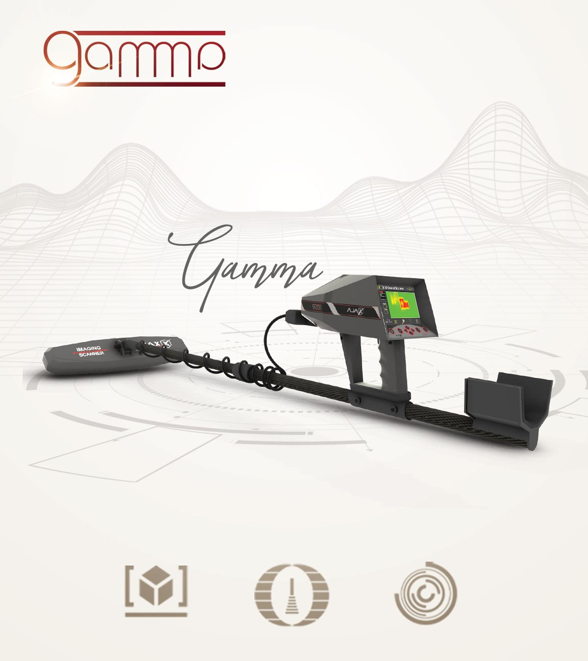 Ajax Gamma Metal Detector & Treasures and Gold Detector with 3 different detection and exploration systems Gradiosmart system, Live Scan and 3D Ground Scanner