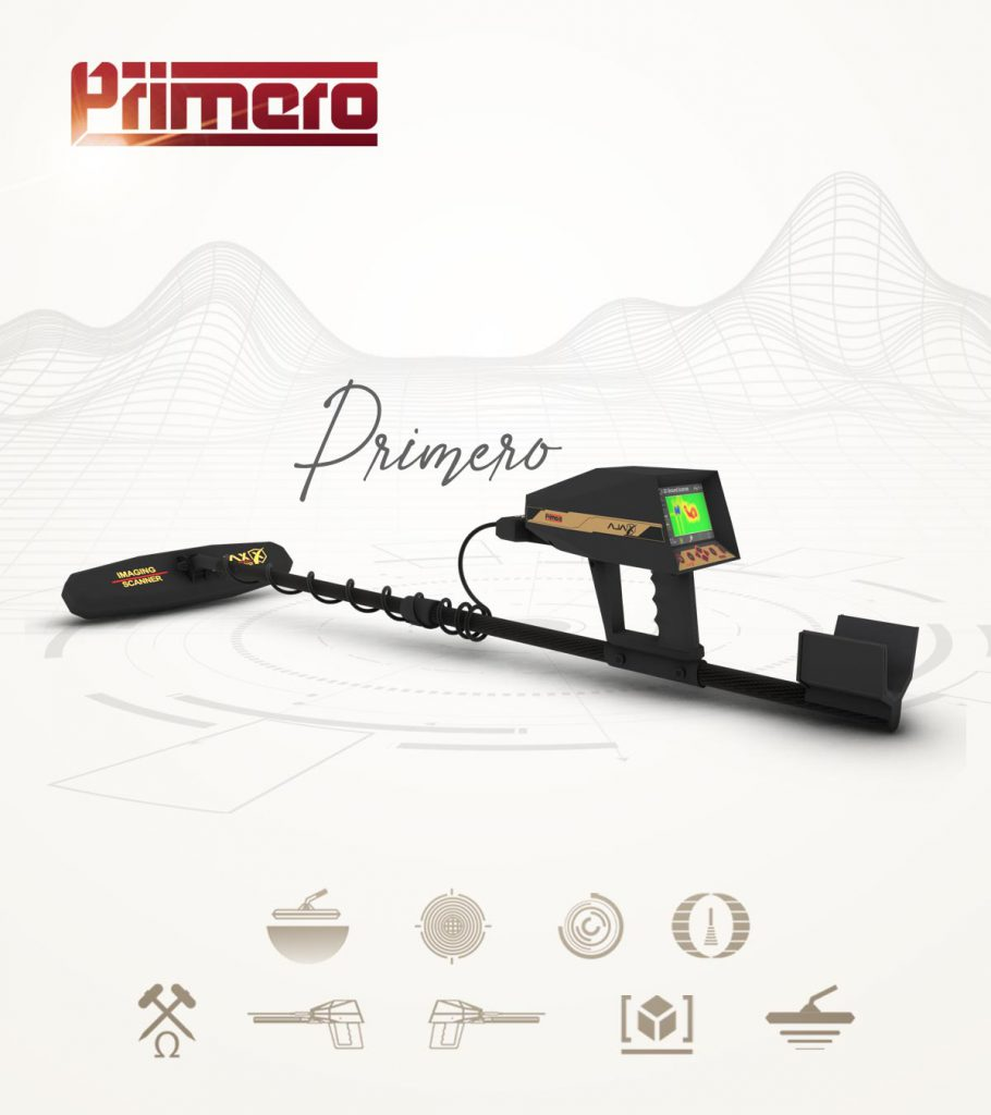 Ajax Primero Metal Detector & Treasures and Gold Detector with 9 different systems specialized to detect gold, mineral and buried targets